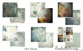 Embellissement Scrap Lot de 6 papiers 15 x 15 cm, Coll. Une pointe de rouille