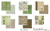 Embellissement Scrap Lot de 6 papiers 30 x 30 cm, Coll. Esprit nature