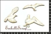 Embellissement Scrap Mouettes, Collection Littoral, en Carton bois